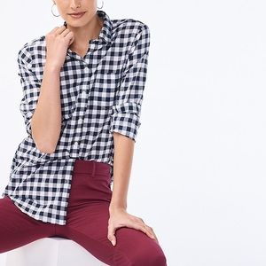 J. Crew boy fit gingham plaid button down top